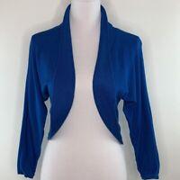 PETER NYGARD Womens Top Open Front Crop Long Sleeve Cardigan Sweater Blue Size S