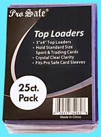25 PRO SAFE 3x4 REGULAR TOPLOADERS NEW Rigid Clear Trading Card Sleeves Sports