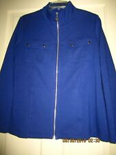 Susan Graver Weekend French terry zip front jacket pockets XS navy blue A234997