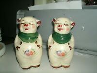 """Shawnee Smiley Pig 5"""" Salt and Pepper Shakers with gold trim and decals"""