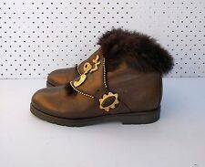 Size 6 Vintage 80s Ladies Copper leather ankle boots with studs and faux fur