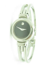 PRE-OWNED MOVADO MUSEUM BLACK DIAL STAINLESS STEEL SWISS WATCH NEW BATTERY GIFT