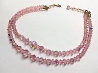 "VTG PINK Aurora Borealis Crystal Double Strand Choker Necklace Adjustable 16"""
