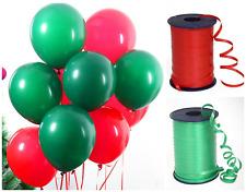 Feliz Navidad 30.5cm Globos Látex Paquete De 1-100 Verde y Rojo Navidad Listones