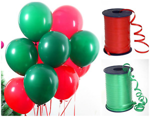 """Merry Christmas 12"""" Latex Balloons Pack of 1-100 Green and Red X-mas Ribbons"""
