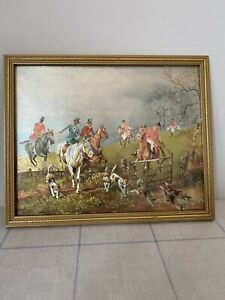 Vintage Metallic Foil Picture Iridescent Cecil Vernon Horse Painting Fox Hunting
