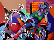 MOTORCYCLE MAMA  GICLEE PRINT HARLEY BIKE CLUB  GANG  ANTHONY FALBO