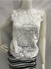 Sleeveless Floral Lace Blouse - White