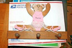 Wooden Wall Coat Hat Hook Hanger Child Ballerina Teddy Bear Marisa
