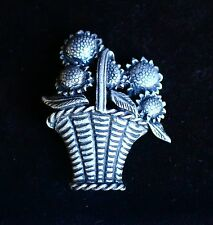 Basket with Sunflowers ornate pewter great quality BROOCH
