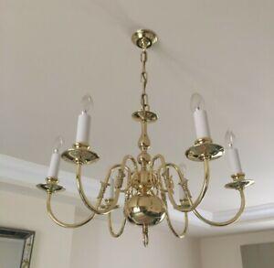 Pedret Brass 6 light chandelier and 2 matching wall lights