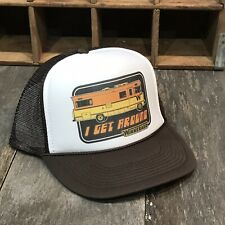 I Get Around Winnebago Trucker Hat Vintage 80s Camping Party Snapback Cap Brown
