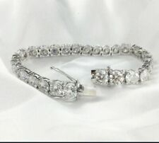 17.00 CT Round Cut Real Moissanite Solitaire Tennis Bracelet 925 Sterling Silver
