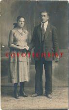 RPPC Photo Postcard JEWISH COUPLE Yiddish Hebrew Writing on Back Unposted