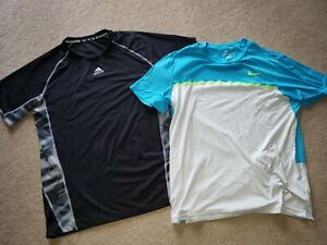 Nike Dri-Fit Adidas Shirt LOT Mens Extra Large XL Black Gray Blue Tennis Run Gym