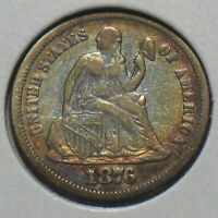 1876-S U.S.Silver Seated Liberty Dime 10c VF Details Full Liberty