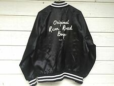 VTG MENS SATIN BLACK JACKET ORIGINAL RIVER ROAD BOYS HOUSTON TEXAS XL MADE USA