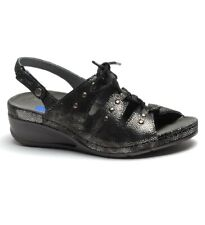WOLKY NIB $154 Leather Bombi Lace Up Sandals Shoes in Black Caviar Size 36 / 5.5