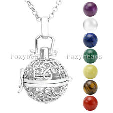 7 Chakra Gems Reiki Healing Beads with Hollow Flower Locket Pendant Necklace Set