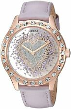 GUESS U0909L3 Purple Leather Strap Glitz Heart Rose Gold-Tone Women's Watch