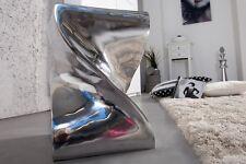 Sitting Stool Silver Aluminium Side Table 45 cm Polished Retro Lounge Design