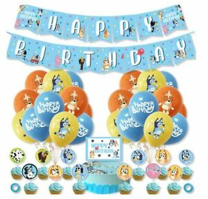 Bluey Party Decorations Birthday Supplies Balloons Cake Toppers Banner Bunting