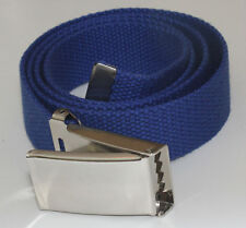 "NEW FLIPTOP ADJUSTABLE 54"" INCH CBLT BLUE MILITARY WEB CANVAS CHROME BELT BUCKLE"
