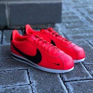 Nike Classic Cortez Premium Shoes Athletic Casual Multi-Swoosh Red-Black-White