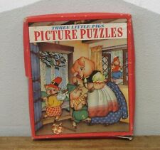 VTG 1930S THREE LITTLE PIGS Jigsaw Picture Puzzle Set Whitman USA 3974 COMPLETE