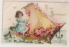 To My Sweetheart girl in Floral Boat Tuck Floral Missives Series 11 Postcard