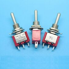 10PCS Mini 3 PIN RED Toggle Switch SPDT On-Off-On 6A 125VAC