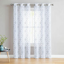 "2  White Sheer Window Curtains: Gray Embroidered Floral Lattice Design 96"" Long"