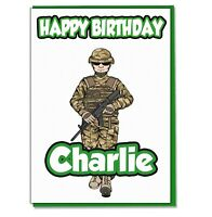 Personalised Soldier Army Birthday Card Mens Veteran Military Captain ANY TEXT