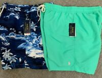 Polo Ralph Lauren Mens Classics Swimsuit Swim Shorts Trunk Blue Floral Green New