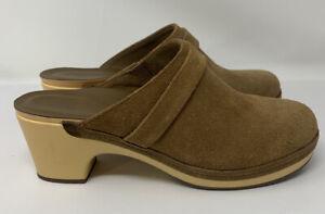 Crocs Sarah Triple Comfort Women's Tan Suede Mule Clog Slip On Shoes Size 10
