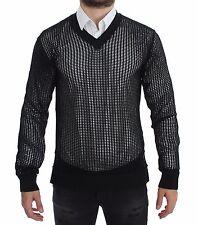 NWT $660 DOLCE & GABBANA Dark Green Runway Netz Pullover Netted Sweater s 46 / S