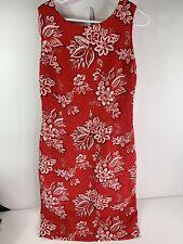 Maggie London Red Bandana Hawaiian Print Flower Shift Dress Tie Open Back Sz 14