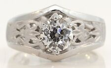 GORGEOUS PLATINUM SOLITAIRE ENGAGEMENT RING W/ 1.16 CT OLD MINER CUT DIAMOND D51
