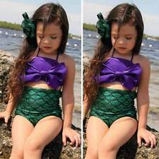 UK Girls Kids Mermaid Swimmable Bikini Swimwear Swimsuit Swimming Costume Set