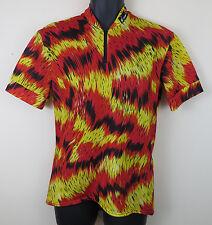 FESPO Vtg Cycling Retro Jersey Shirt Vintage Red Yellow Trikot Maillot L Large