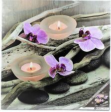 Wandbild Leinwandbild Canvas  Keilrahmen Orchidee mit 2 Led Deko Ruhe Bild Holz