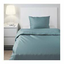 IKEA NATTJASMIN Duvet Cover TWIN Pillowcase Bedding Set Blue Stripe Hotel Sateen