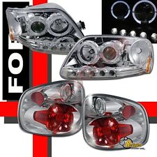 97-00 Ford F150 Pickup Flareside Halo Projector Headlights + Tail Lights Chrome