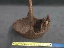 Previously owned vintage wicker rooster basket crafts home kitchen decor birds