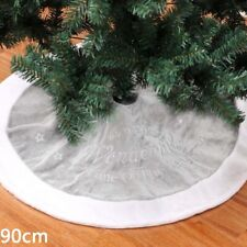 90cm Round Christmas Tree Skirt Base Snowflakes Xmas Party Home Floor Decoration