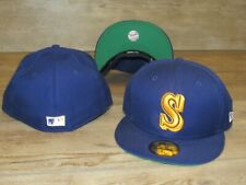 Seattle Mariners NE 59Fifty Cooperstown Wool Vintage Fitted Hat Cap Size 7 3/8