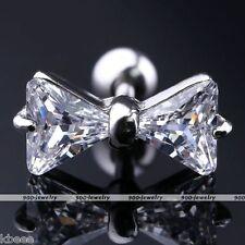 1x 16G CZ Bowknot Silver Steel Barbell Ear Tragus Cartilage Helix Studs Earrings