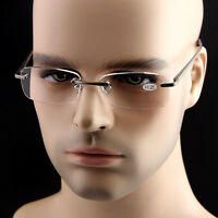 Men Womens Quality Aluminum Square Rimless Clear Lens Reading Glasses Readers