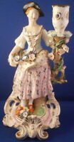 Antique 19thC Bloor Derby Porcelain Female Figural Candlestick Figurine English