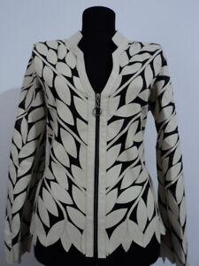 Beige Woman Leather Jacket Women Coat Zipper Short Light V Collar All Size D12